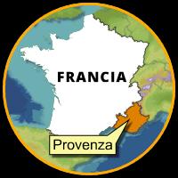 Cartina tonda della Francia. In evidenza la Provenza