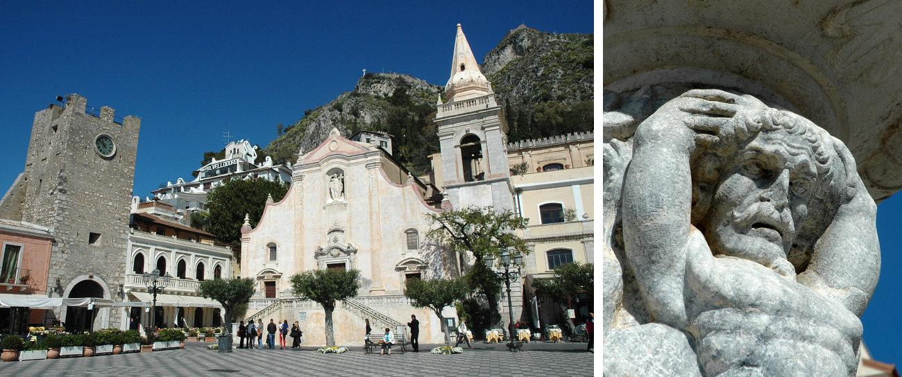 Piazza IX Aprile a Taormina e dettaglio di una statua