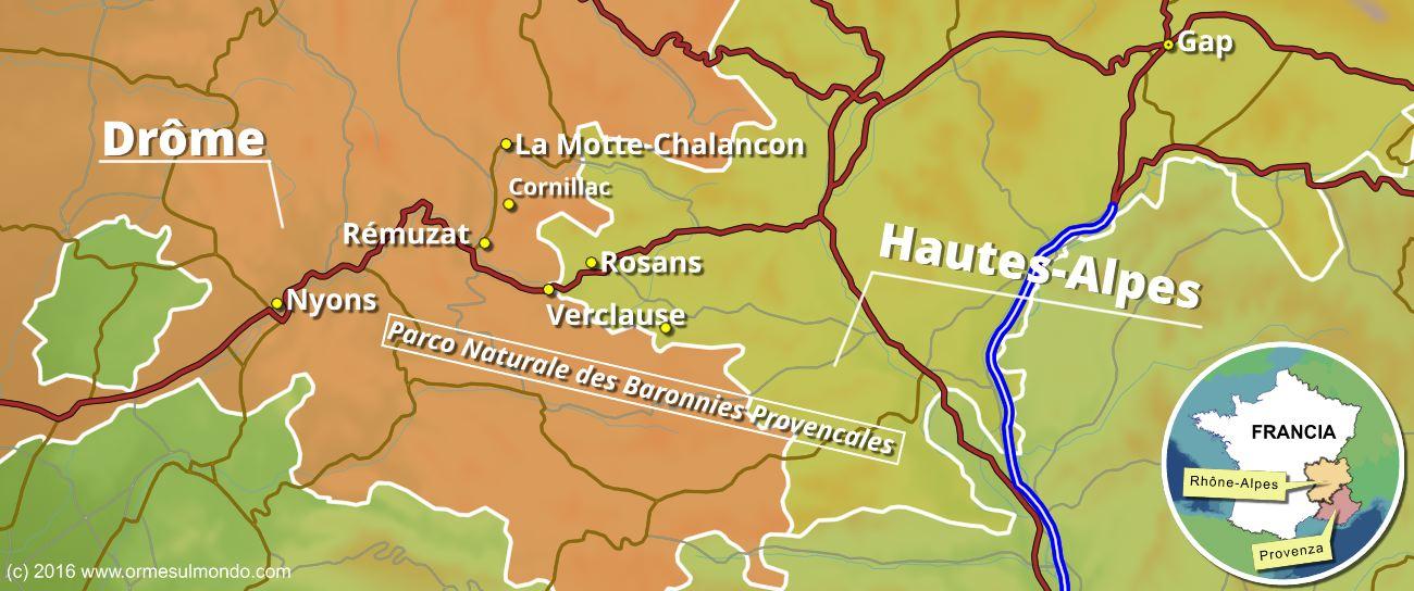 Mappa villaggi nel Parco delle Baronnies Provencales