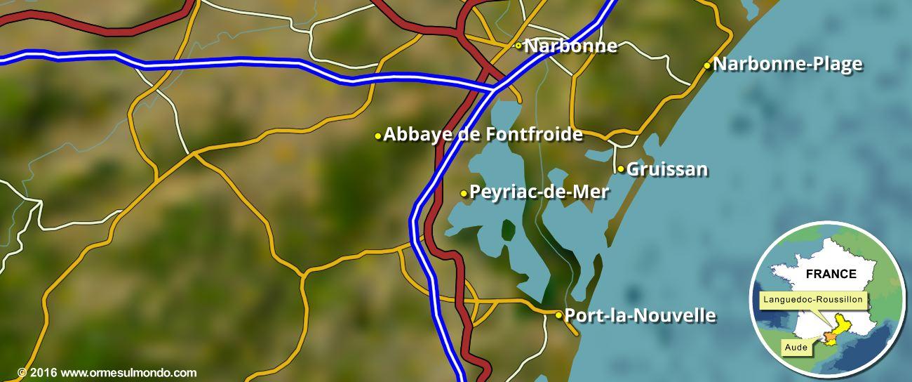 Cartina del territorio di Narbonne
