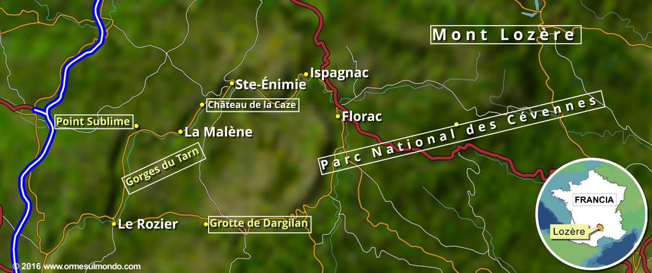 Cartina delle gole del Tarn, nel dipartimento francese del Lozère