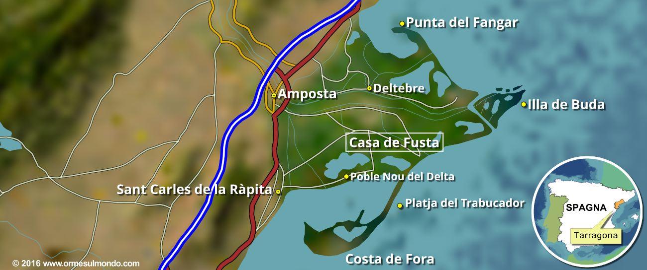 Cartina del Parco Naturale del Delta dell'Ebro, in Spagna