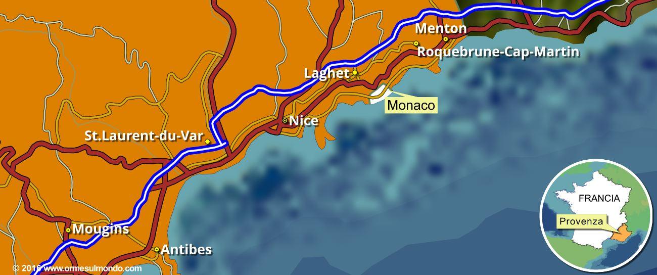 Mappa delle soste camper in Costa Azzurra