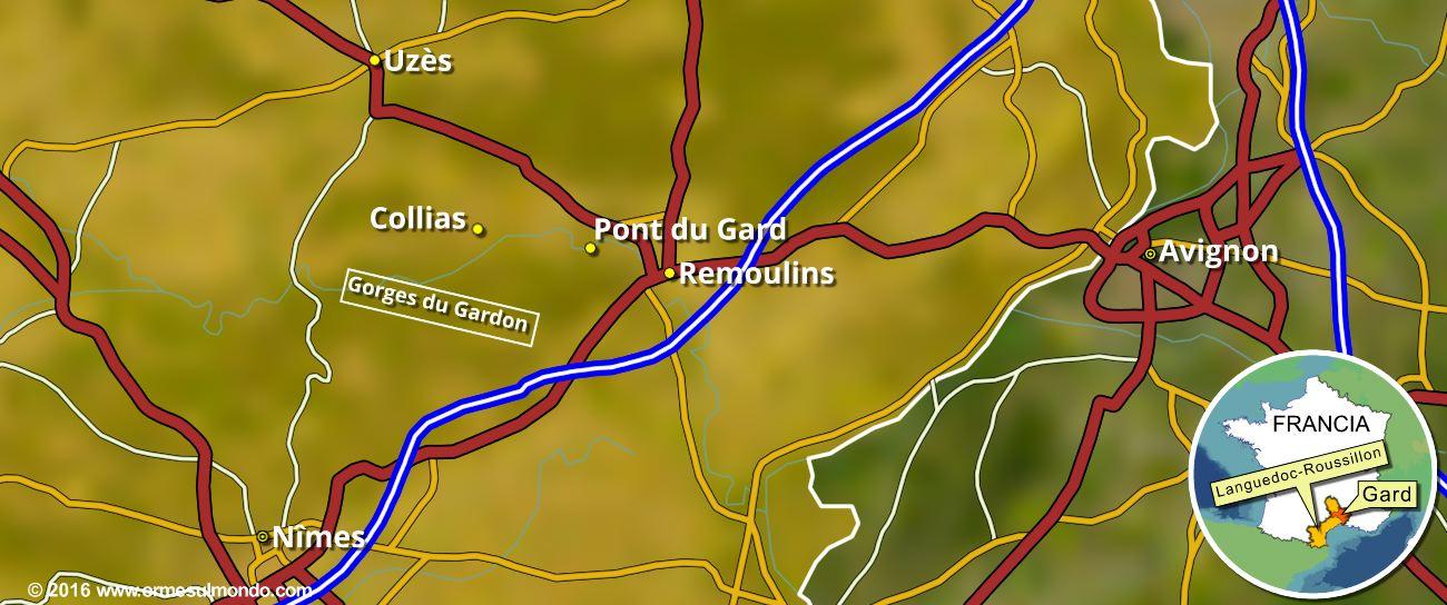 Cartina area del Gard con le Gorges du Gardon