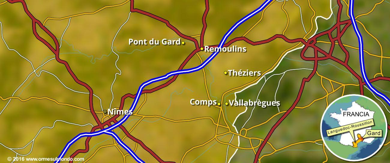 Cartina delle soste nell'area del Pontdu Gard