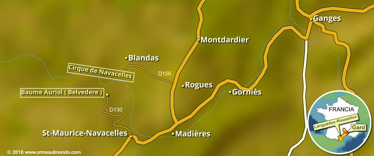 Mappa dell'area del Cirque du Navacelle