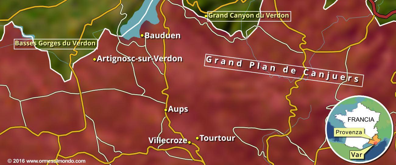 Mappa degli Haut Pays Varois