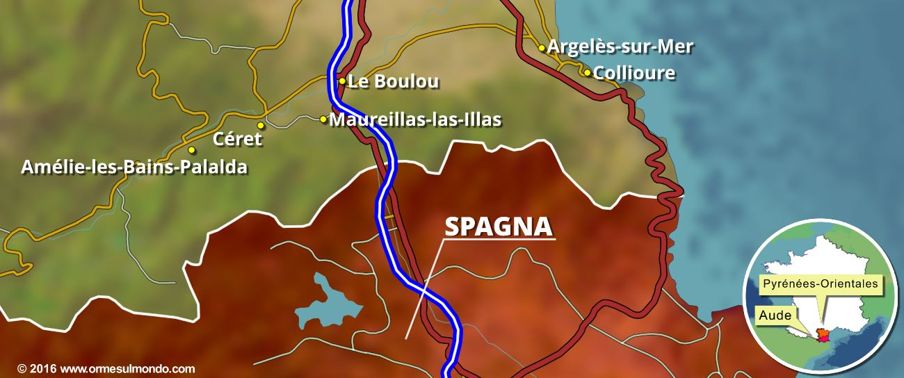 Cartina dei Pyrénées Orientales al confine con la Spagna