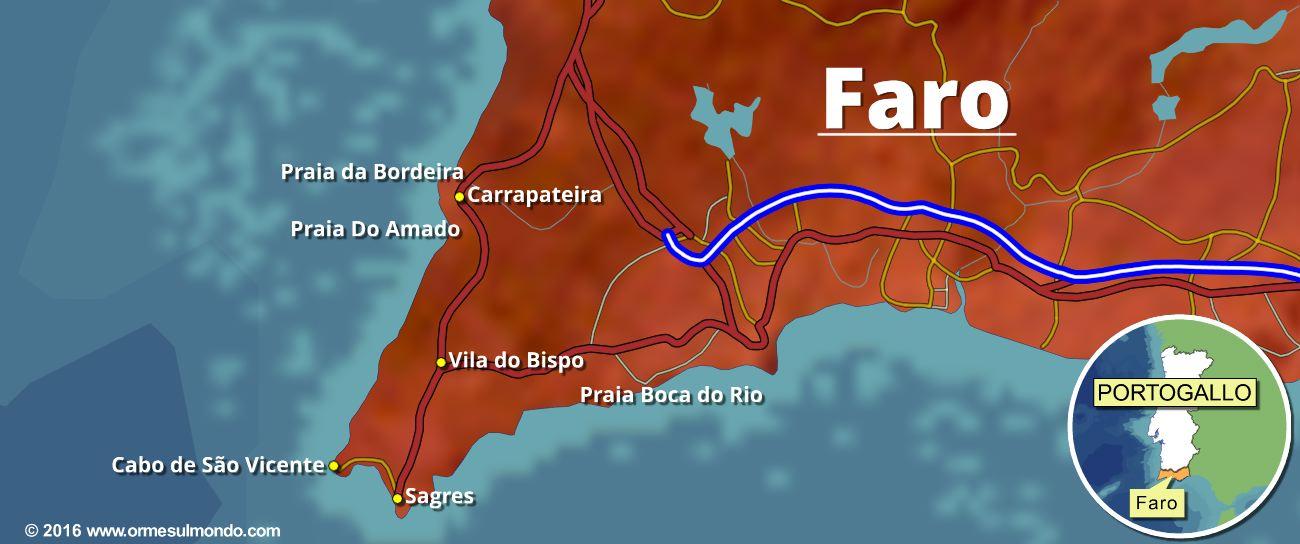 Cartina del distretto di Faro in Portogallo ( Algarve )