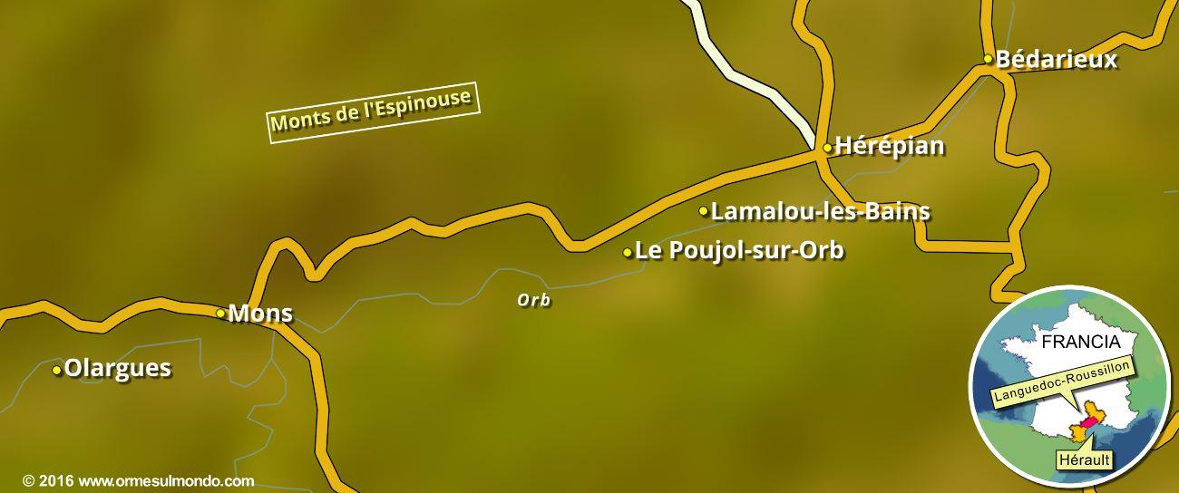 Mappa della ciclabile Passa Païs nel Parco Régional du Haut Languedoc
