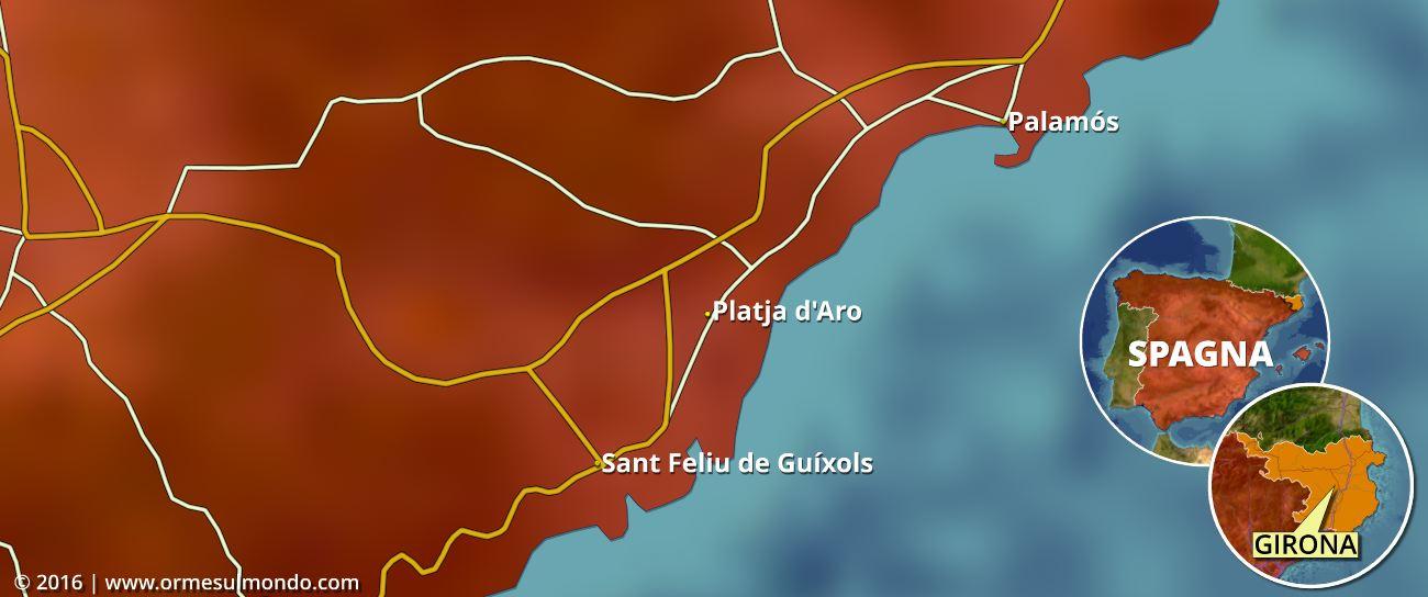 Cartina della nostra sosta a Platja D'Aro in Catalonia