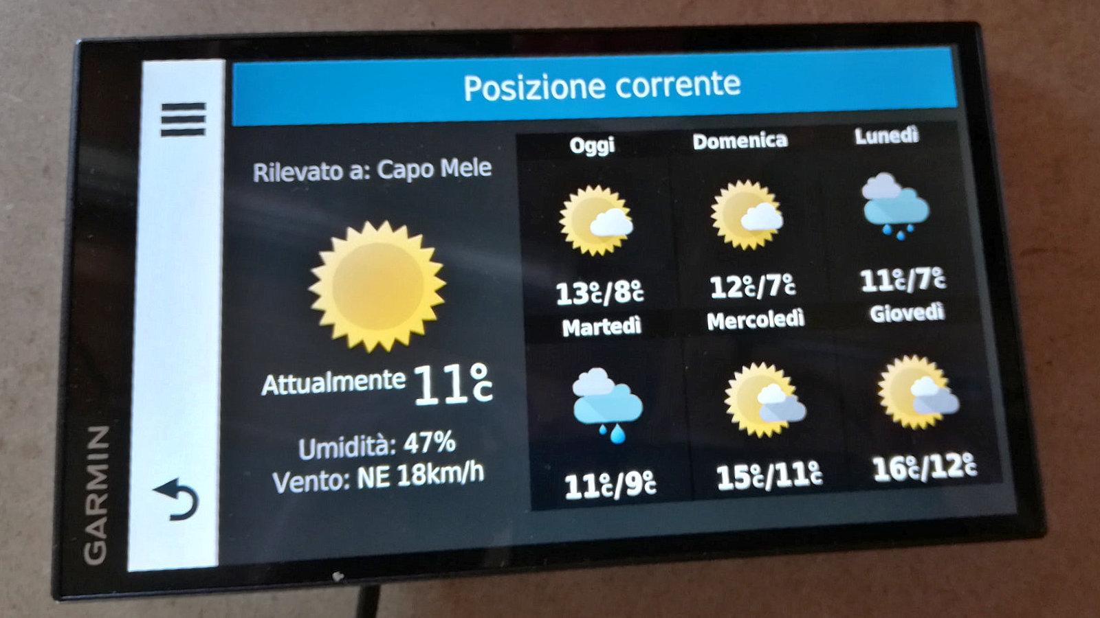 Il meteo in tempo reale. Una delle applicazioni del navigatore Garmin Camper 770 LMT-D